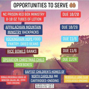 Opportunites To Serve